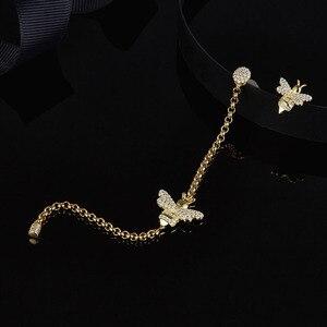 Image 1 - Женские асимметричные серьги SLJELY, длинные серьги из стерлингового серебра 925 пробы золотистого цвета с Пчелой, инкрустированные цирконием, модные вечерние ювелирные изделия