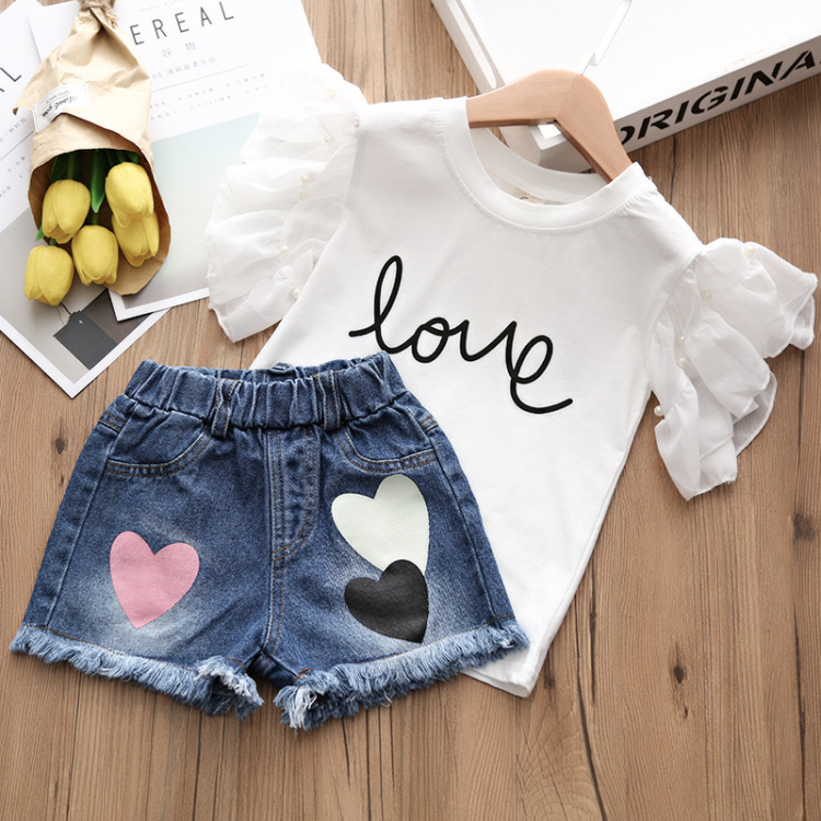 Alice summer hot style 2018 children jeans + t-shirts, children's wear two-piece han edition of the new children's shorts 3