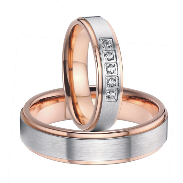 2015 beautiful rose gold color titanium steel wedding bands promise rings sets for him and her - Rose Gold Wedding Ring Sets