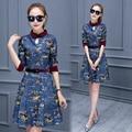 2017 Women's Dress Spring Autumn Summer Slim Retro Three Quarter Sleeve Print Blue Denim Dresses L029