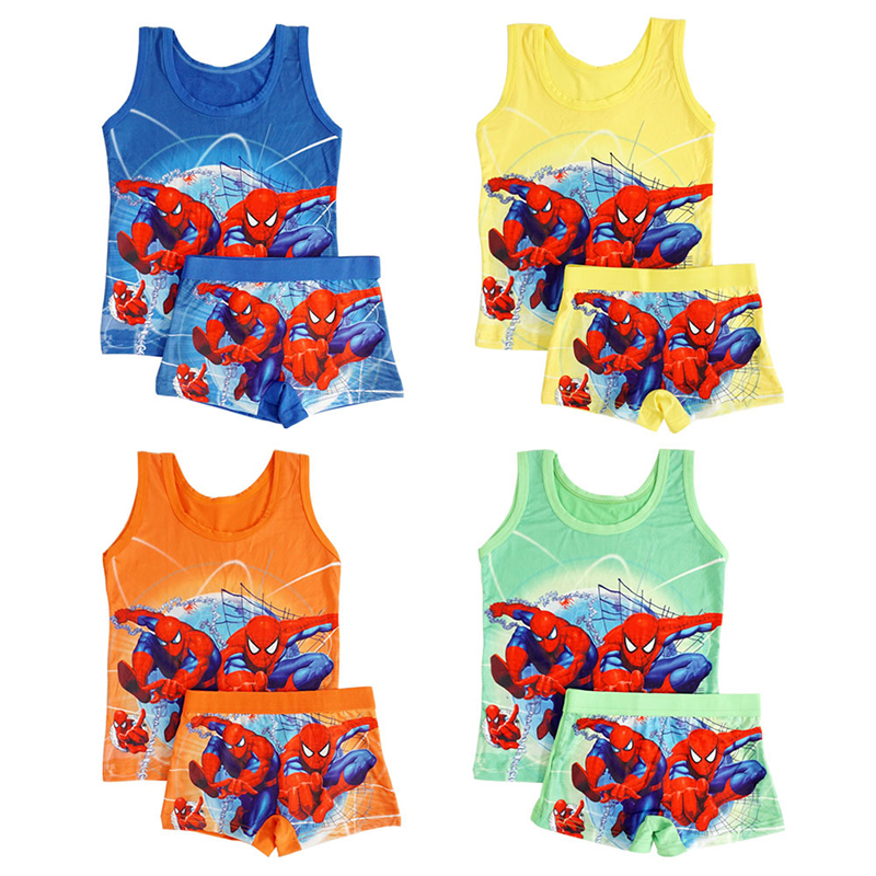Children Clothes Summer Cartoon Sleeveless T-shirt 3-9 T Kids Vest Spiderman Superman T Shirts Panties Boxers Briefs Set