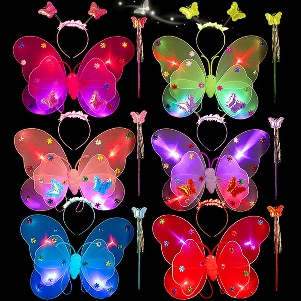 3pcs/Set Girls Led Flashing Light Fairy Butterfly Wing Wand Headband Costume Best Christmas Gift Lowest Price 2018 Hot Sale