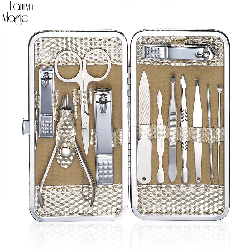 12 Pcs Stainless Nail Kit Nail Clipper Nipper Cutter Scissors Tweezers Ear Pick Pedicure Manicure Set Nail Art Tools 100pcs professional stainless steel cuticle cutter nipper clipper edge cutter shear manicure trimmer scissor plastic