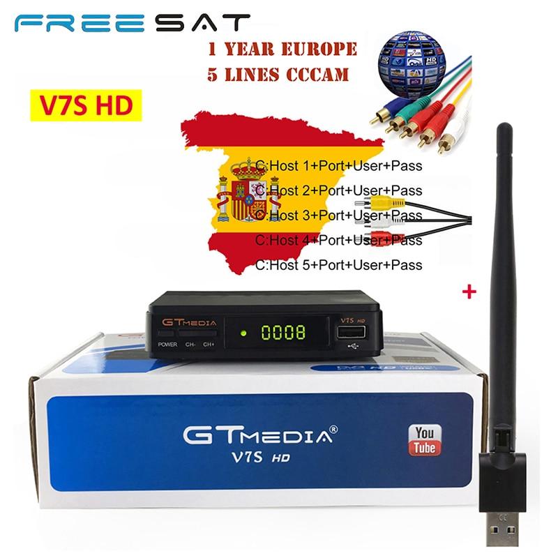 Freesat GTMEDIA V7S HD Satellite Receiver +USB WIFI + Cccam Cline 1 Year Europe Spain Upgrade From V7 HD DVB-S2 Digital Receptor