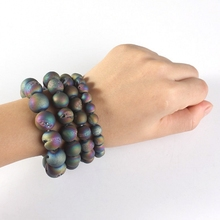 XSM Simple Style Natural Smile Agate Beads Bracelet Weathering Durzy Round Fashion Jewelry For Gril/Color