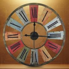 Kingart Big Retro Iron Wall Clock Living Room Antique Wall Watch Vintage Home Decorative Large Wall
