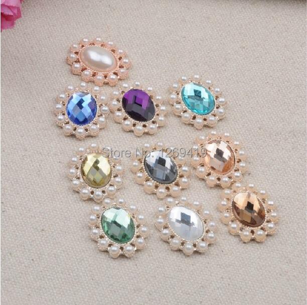 6 Crystal Pearl Photo Picture Frame Diamond Bowknot: 30PCS Ellipse Diamond Pearl Rhinestones Buttons Flatback
