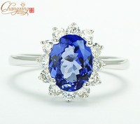 1 62ctw Natural Blue Tanzanite Solid 14CT White Gold VS Diamond Engagement Ring