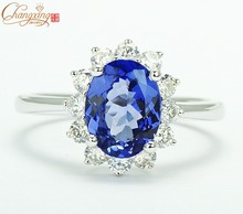 Free Shipping 1.62ctw Natural Blue Tanzanite Solid 14CT White Gold VS Diamond Engagement Ring Gemstone Jewelry Wholesale