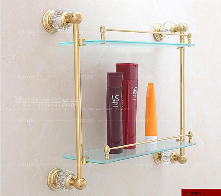 Luxury Gold Crystal Decoration Bathroom Double Glass Shelf Cosmetics Rack  Storage Holder Pendant Sanitary Hardware Accessories