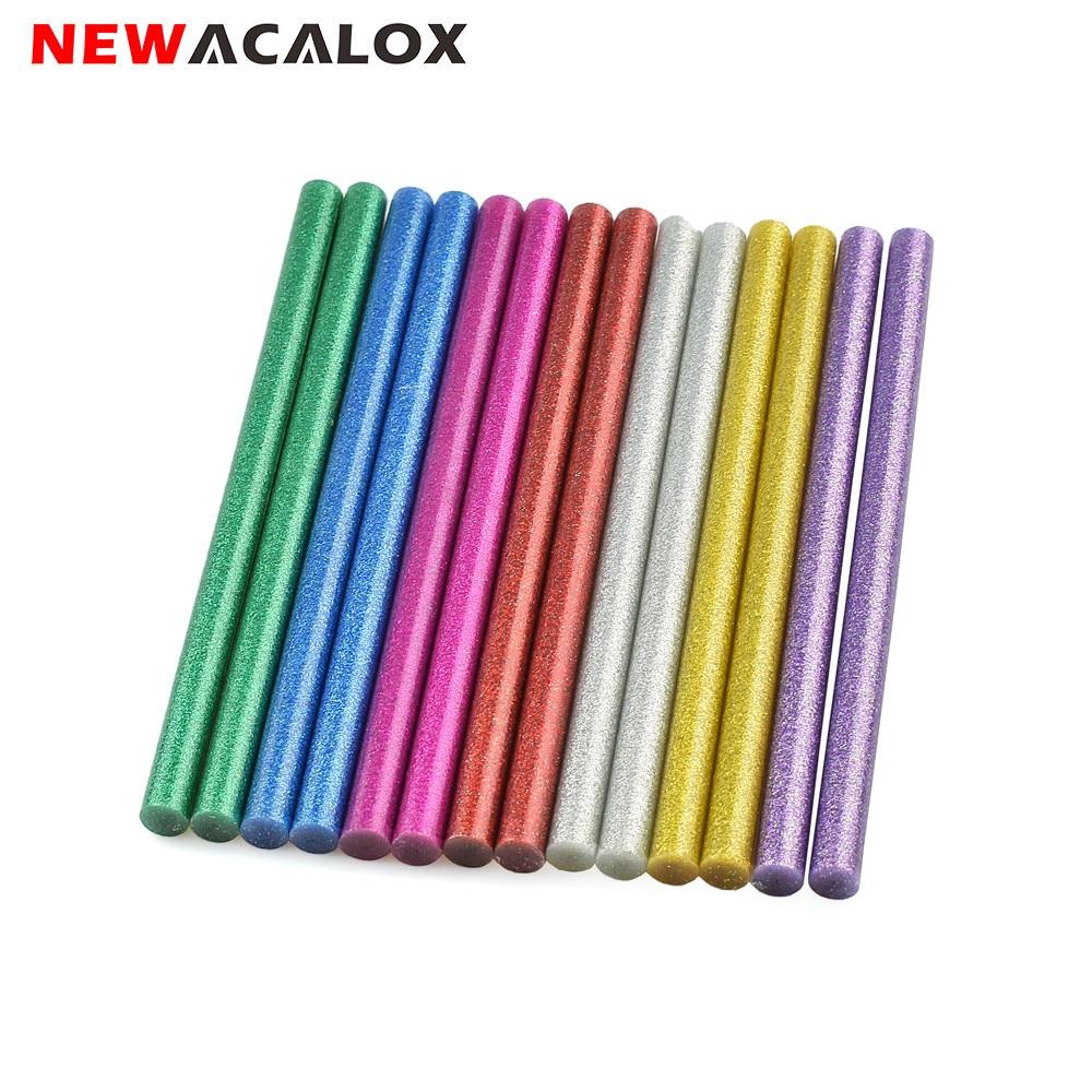 NEWACALOX 14pcs/lot 11mm Colorful Hot Melt Glue Sticks For Glue Gun Craft DIY Art Model Album Repair Accessories Adhesive Stick
