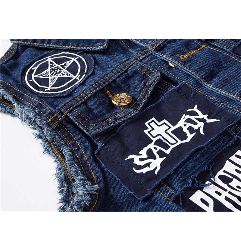 Patches Zerrissene Denim Pentagramm Weste Männer Casual Hip Hop Motorrad Jeans Slim Fit Ärmellose Bettler Westen Jacke für Männliche 4XL 162