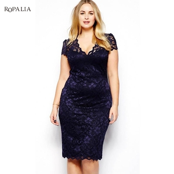 3XL Large Size Dress Summer Sexy Women V-Neck Dresses Female Lace Hollow Out Stretch Pencil Dress