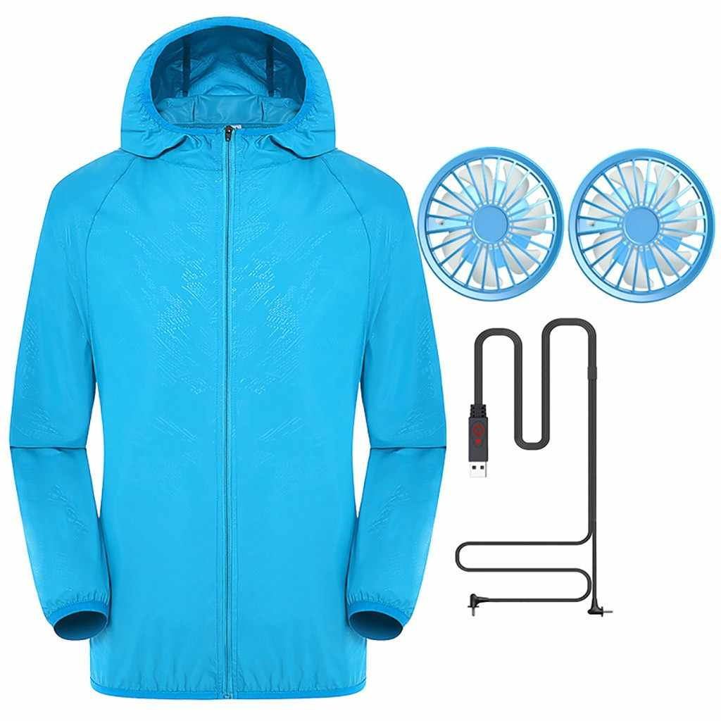 Summer Power cable 2* Fan Cooling Jacket Fan Sun protection clothing Outdoor Air-Conditioned Female and Male Clothes J13