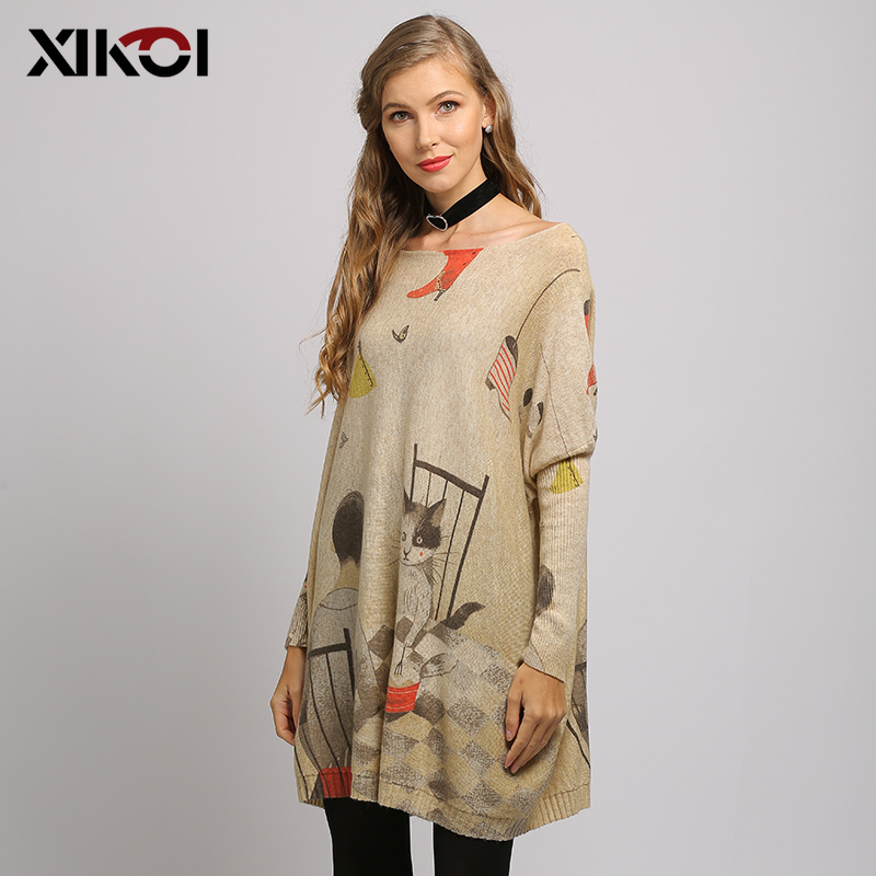 XIKOI Long Oversized Women Sweater Casual Coat Batwing Sleeve Cat Print Women's Sweaters Clothes Pullovers O-Neck Knitted Dress