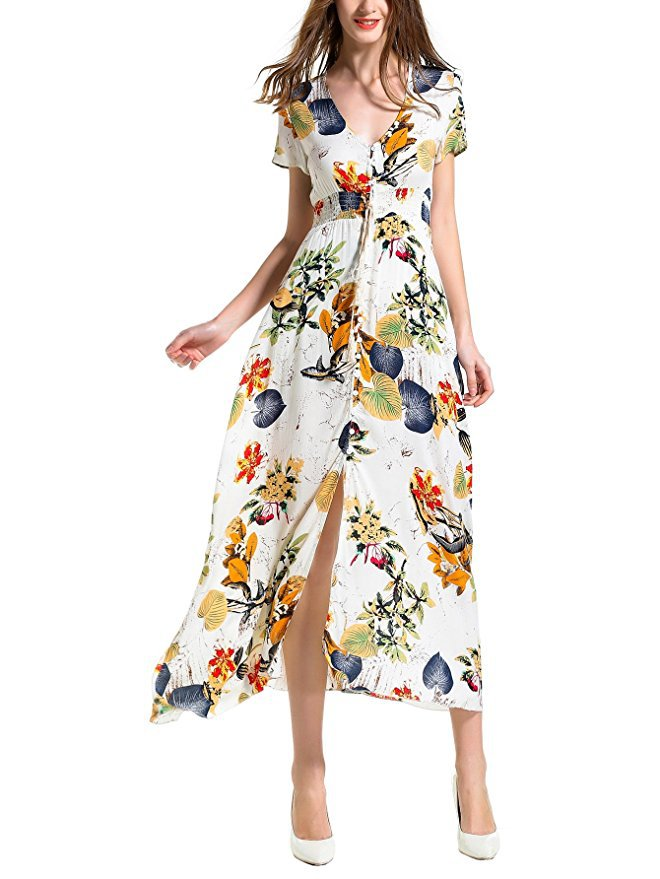 Bohemia Floral Print Long Women Dress Beach Ladies Sexy Boho Maxi Dress  2018 Fashion Vintage Loose Women Summer Dresses LDW1026 b8ebbdaf5d2a