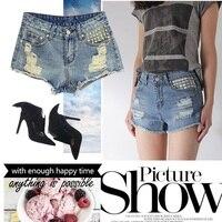 2016 Nuovi Rivetti pantaloncini a vita alta femme Sfilacciata Cutoff plus size Shorts In Denim Sexy Delle Donne Dell'annata Strappato Distressed Brevi Jeans