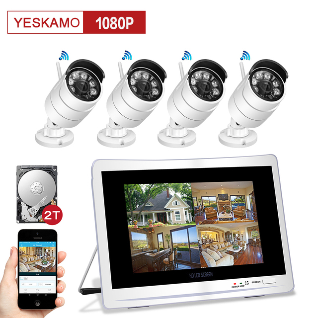 yeskamo wifi accueil cctv ip cam ra de s curit syst me de surveillance kit avec 11 7 lcd. Black Bedroom Furniture Sets. Home Design Ideas