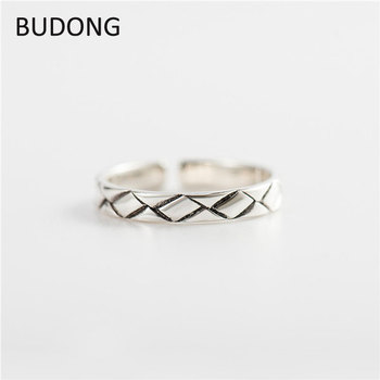 BUDONG Vintage Opening Adjustable Rings for Women 100% Genuine 925 Sterling Silver Finger Ring Fine Jewelry Wholesale LHRT0019