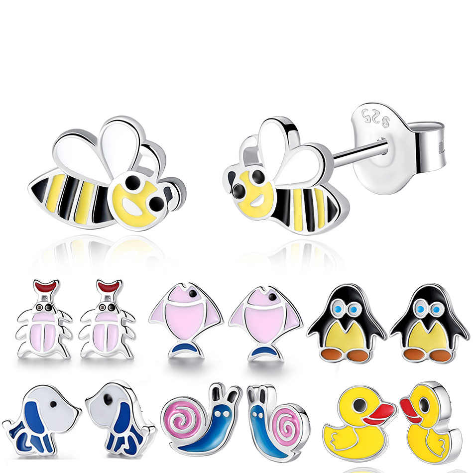 BEILAWANG 100% 925 Sterling Silver Stud Earrings for Children Girl Honey Bee Duck Enamel Kids Earrings Fashion Jewelry