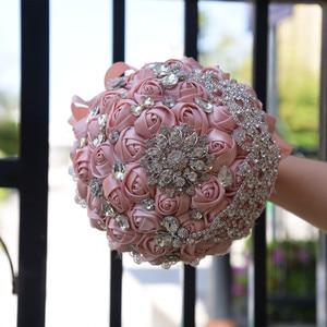 Image 2 - Kyunovia Vintage Brooch Bouquet Lace Handle Bridal Bouquets Wedding Accessories Brooches Bouquet Crystals Wedding Bouquet FE71