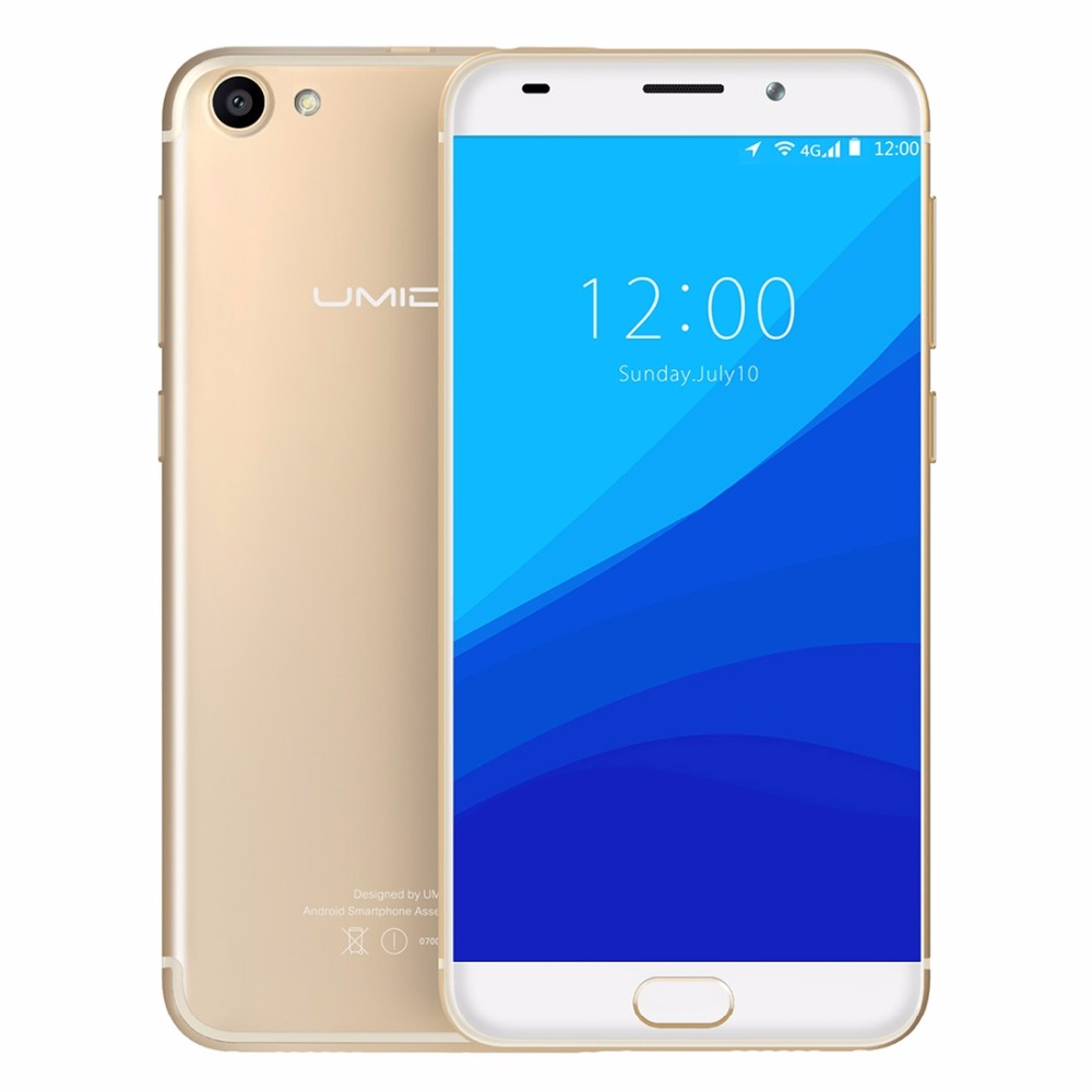 Original UMIDIGI G Mobile Phone MTK6737 1.3GHz Android 7.0 Quad Core 5.0 Inch 2GB 16GB HD Screen Touch ID OTG 4G LTE Smartphone