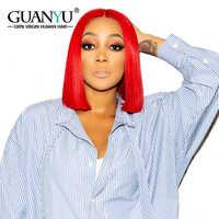 Dentelle rouge avant cheveux humains Bob perruques 13X4 Remy cheveux préplumés perruques courtes pour les femmes noires Guanyuhair