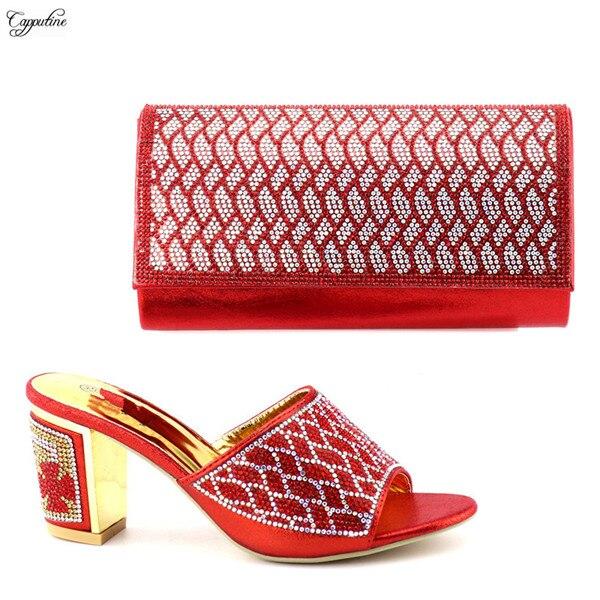 Последние красный ниже каблук обувь в африканском стиле с сумочкой комплект для вечеринки 9658-2 Высота каблука 8 см, многоцветный
