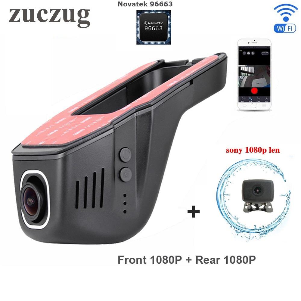 Novatek 96663 Wifi Видеорегистраторы для автомобилей двойной камеры видео Рекордеры двойной 170 Угол обзора Dash Cam IMX291 IMX323 полный двойная камера HD 1080 P