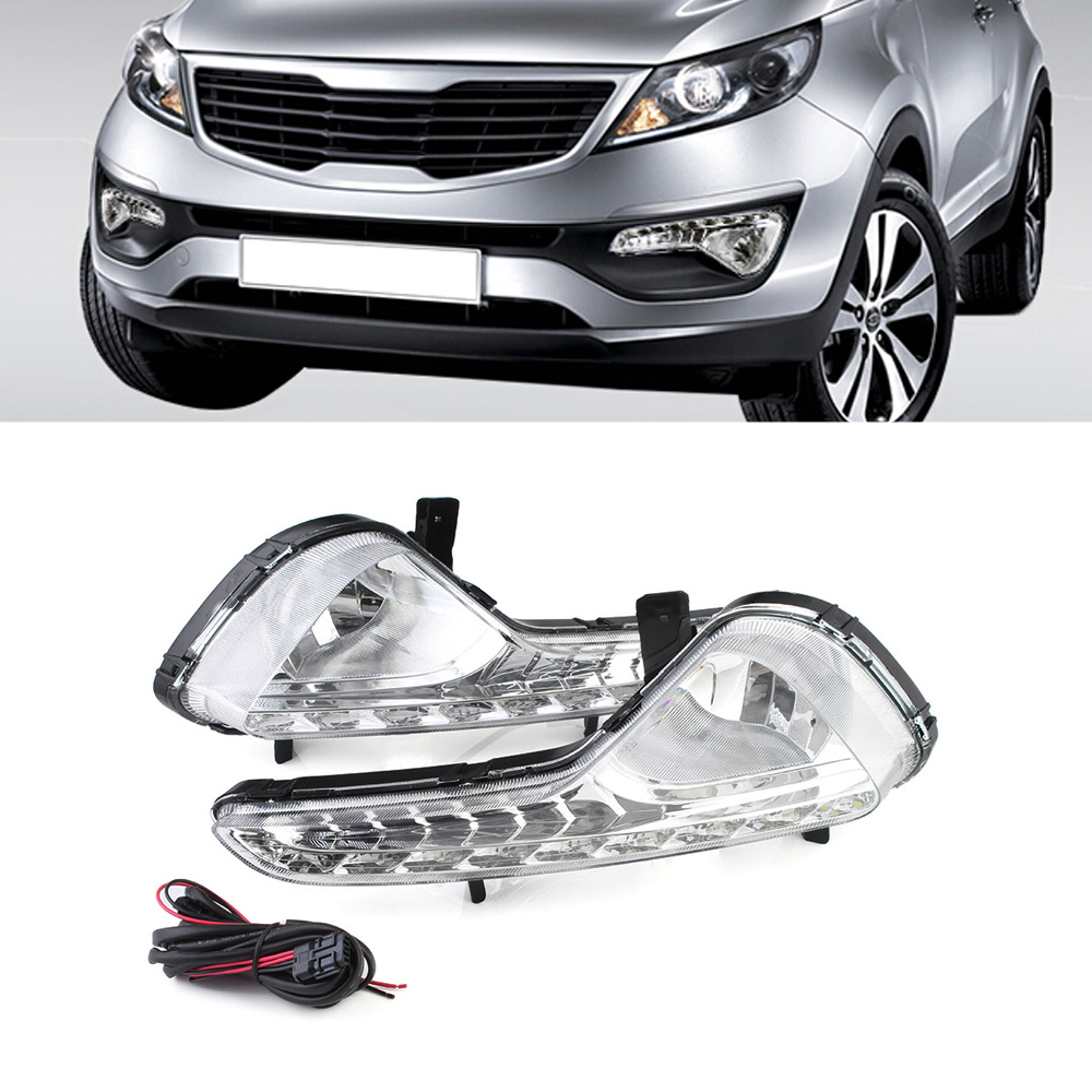 Auto Car LED Daylight DRL Daytime Running Light Driving Lamp For KIA Sportage R 2010-13 White Led Lights D35 1 pair metal shell eagle eye hawkeye 6 led car white drl daytime running light driving fog daylight day safety lamp waterproof