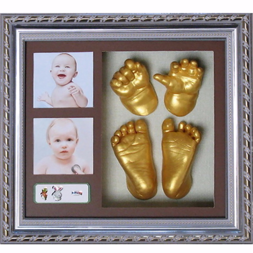 New 3D Baby Casting Kit Gift Bronze Hand /& Feet Antique Silver Frame White Card