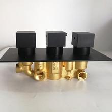 Черный душевой клапан головка Термостатический душ контроль Swtitch 3 водяная розетка 1/2IPS соединения переключатель для душевого смесителя ванная комната