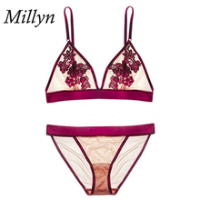 MILLYN Factory direct selling bra suit floating flower without steel circle Cup Super Thin bra ladies underwear S M L XL XXL мужские боксеры factory 1 m l xl xxl 802