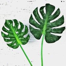 5pcs/lot Large Artificial Monstera Palm Leaves Leaf-shaped Fake Green Plants Wedding Diy Decoration Flowers Arrangement Plant