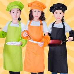 Fartuch dziecięcy i czapka szefa kuchni zestaw regulowany bawełniany fartuch dziecięcy z 2 kieszeniami chłopcy dziewczęta Bib fartuch do gotowania malowanie pieczenie