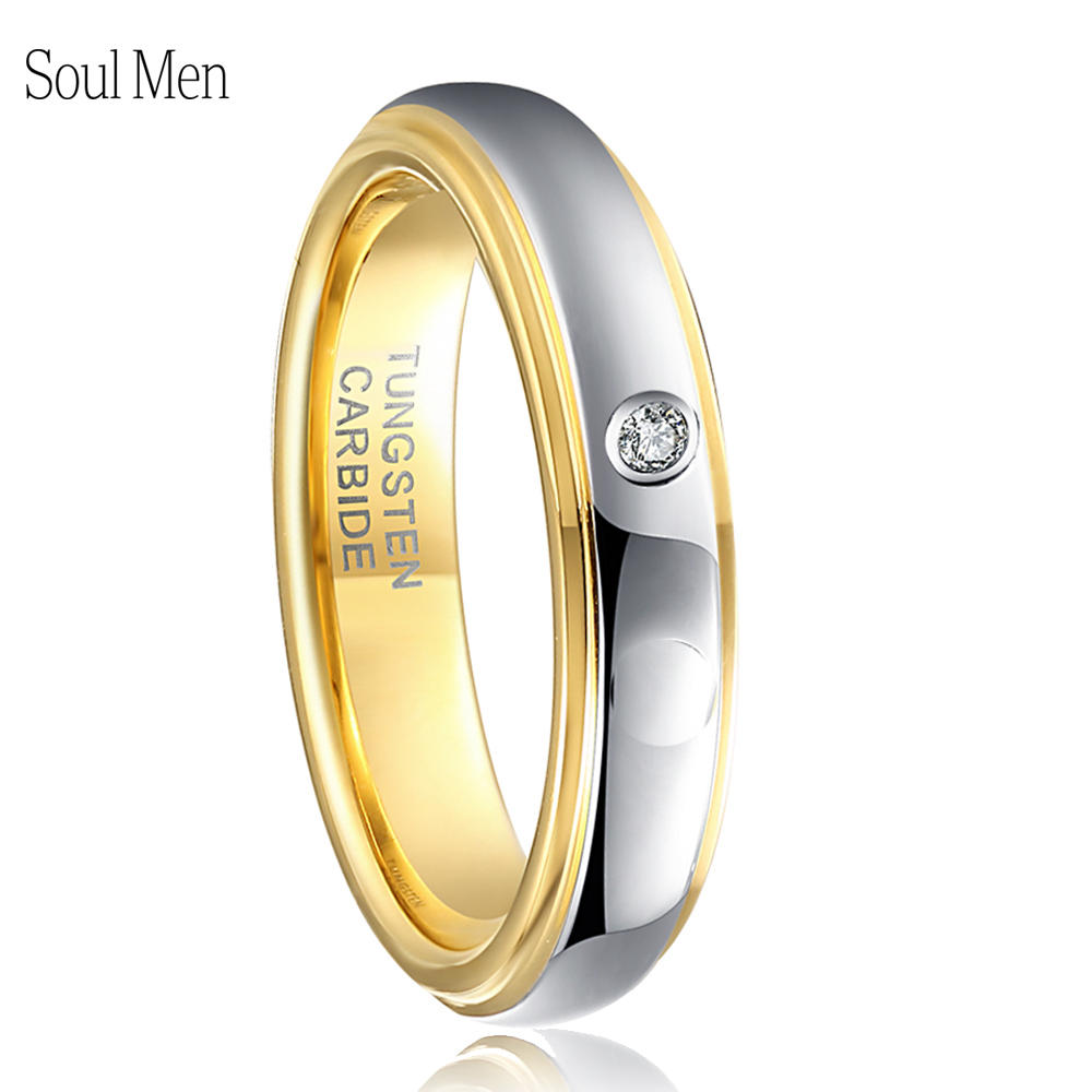 4MM Gold Silver Color Tungsten Ring For Women Wedding Band with Cubic Zircon Stone Alliance Bridal Jewelry US Size 4-9 equte rssw30c1s7 fashionable titanium steel two zircon women s ring silver white us size 7