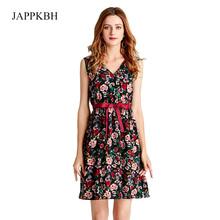 JAPPKBH Summer Autumn Women Dress New Elegant Sweet Print Floral Deep V Ladies Dresses Vintage Beach