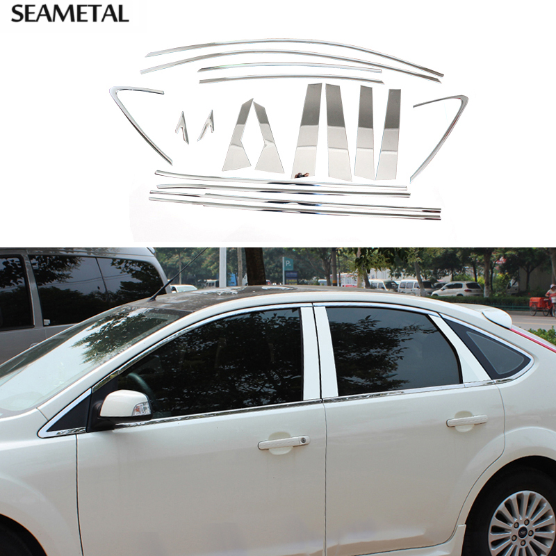 For Ford Focus 2 MK2 Sedan Hatchback 2005 2006-2010 2011 2012 Car Window Strip Molding Trim Decoration Sequins Auto Accessories abs chrome front grille around trim for ford s max smax 2007 2010 2011 2012