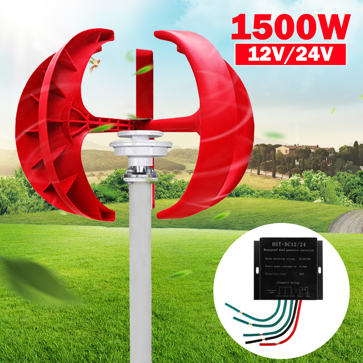 1500W Wind Turbines Generator +Controller 12V 24V 5 Blades Lantern Vertical Axis Permanent Magnet Generator for Home Streetlight