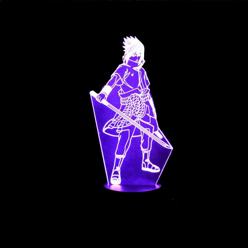 7 Colori Modifica Led Bambini Comodino Sasuke Modellazione Apparecchi di Illuminazione 3D di Visual Anime USB Desk Lamp Home Decor Naruto Notte luce