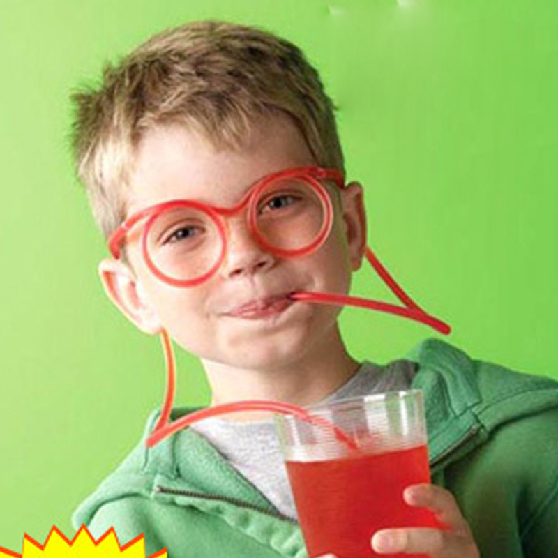 50pcs/lot Funny Soft Drinking Straw Eye Glasses Novelty Toy Party Birthday Gift Child Adult DIY Straws Bar Accessories supplies