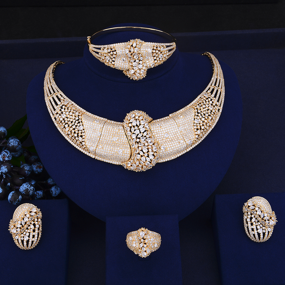 Luxury Indian Gold Jewelry Sets christmas jewelry CZ Necklace Earrings Bracelet Resizable Ring Jewelry Sets For Bride EngagementLuxury Indian Gold Jewelry Sets christmas jewelry CZ Necklace Earrings Bracelet Resizable Ring Jewelry Sets For Bride Engagement