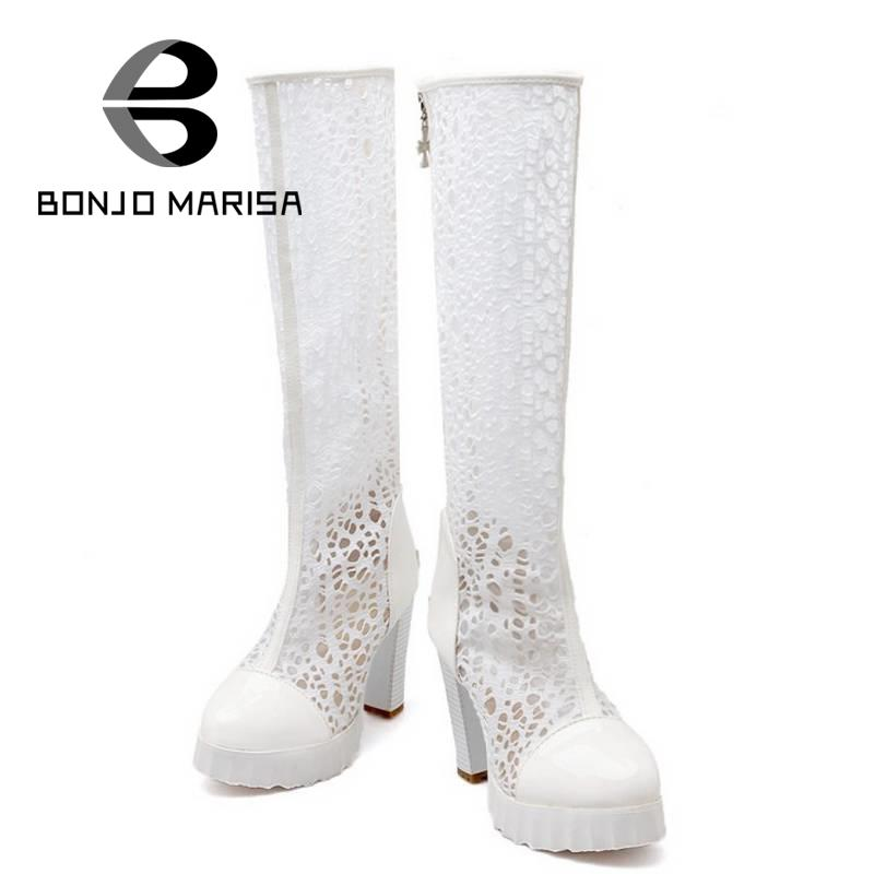 ФОТО Big size 34-43 Fashion Women Summer Boots Vintage Square High Heels Summer Shoes Zipper Closure Cutout Knee Boots for Woman