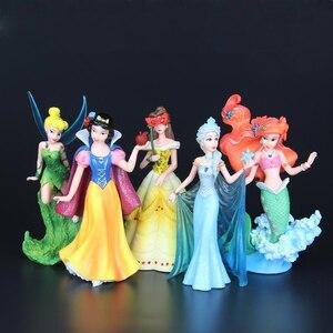 Image 2 - Disney Kid Đồ Chơi 5 Cái/bộ 10 13 cm Công Chúa Đông Lạnh Elsa Mermaid Snow White Flower Cổ Tích Pvc Hành Động Hình sưu tập Mô Hình Búp Bê