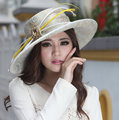 Winter Women Formal Derby Church Wedding Cocktail Evening Beach Hat Diamond Vintage Wide Brim Fedora French Style Sun Dress Cap