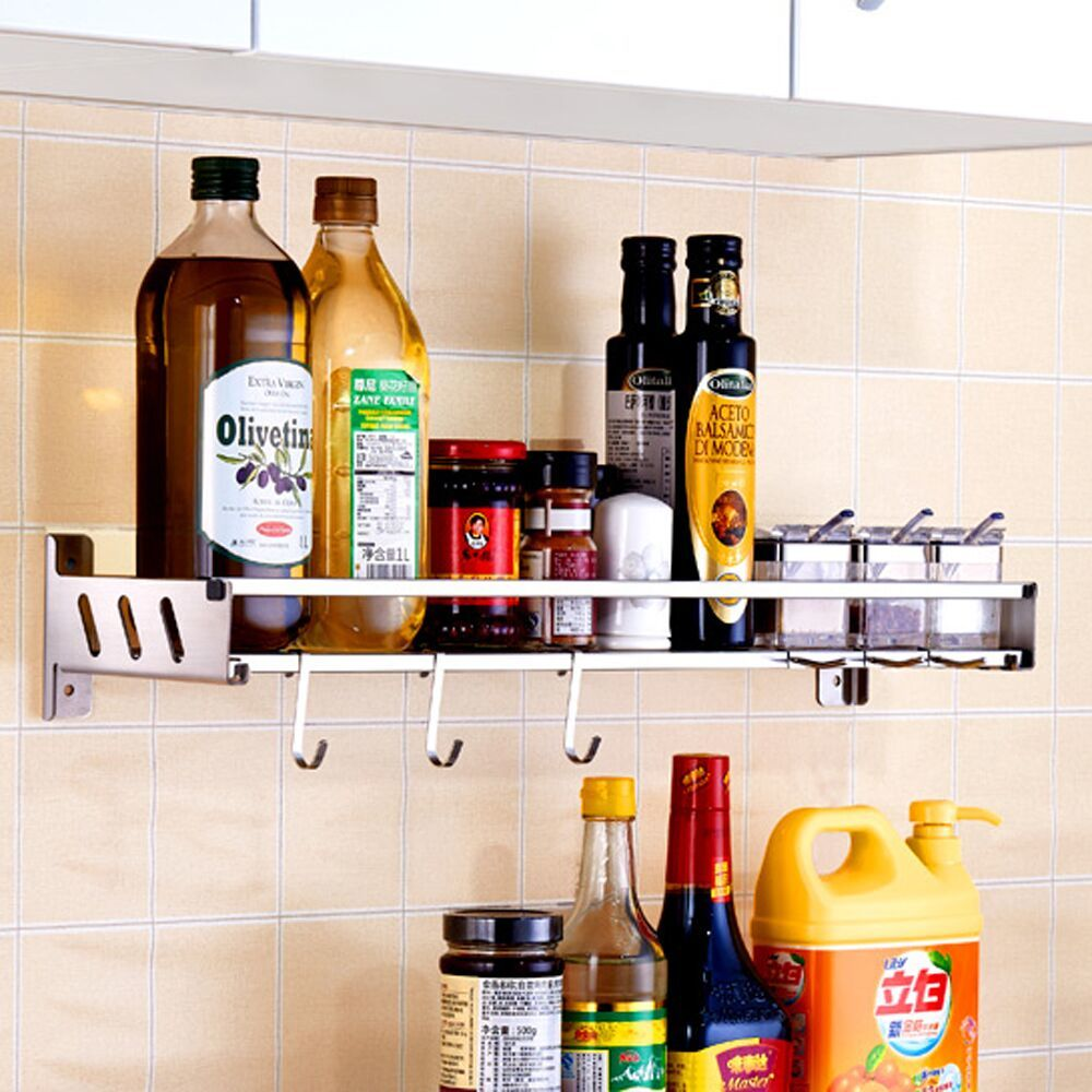 304 stainless steel kitchen shelf wall-mounted perforated wall holds pendant seasoning supplies shelf LU5028304 stainless steel kitchen shelf wall-mounted perforated wall holds pendant seasoning supplies shelf LU5028