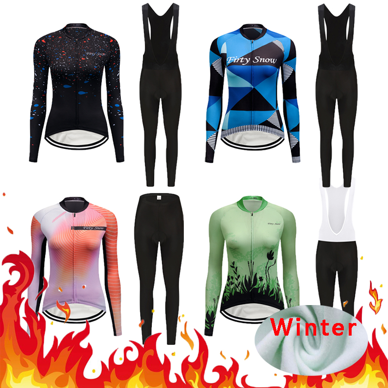 Winter Keep Warm Thermal Fleece Cycling Jersey Sets 2020 Women Road Racing Bike Clothing Kit Female Bicycle Clothes Suit Maillot|Cycling Sets| |  -