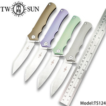 TWOSUN 12C27 blade folding Pocket Knife tactical knives camping knife hunting outdoor tool Titanium Ball Bearing Fast Open TS124