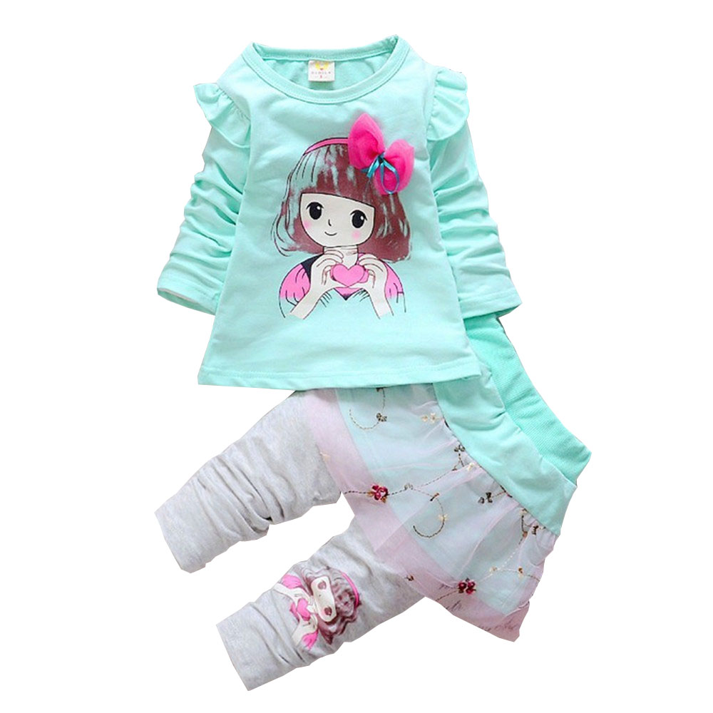 купить BibiCola Spring Autumn baby girls sport outfits child clothing set suit set children T-shirt +pants clothes sets kids 2 pcs по цене 662.48 рублей
