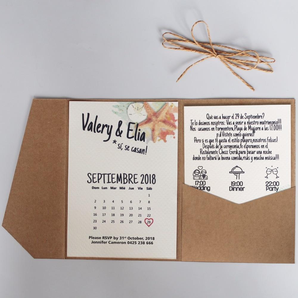 Vintage Kraft Paper Wedding Invitation, Flower Invitation Cards, DIV ...